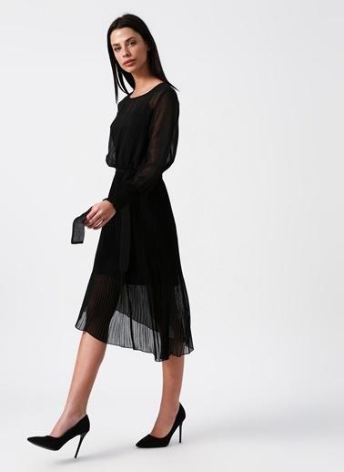 Random Asimetrik Tül Elbise Siyah